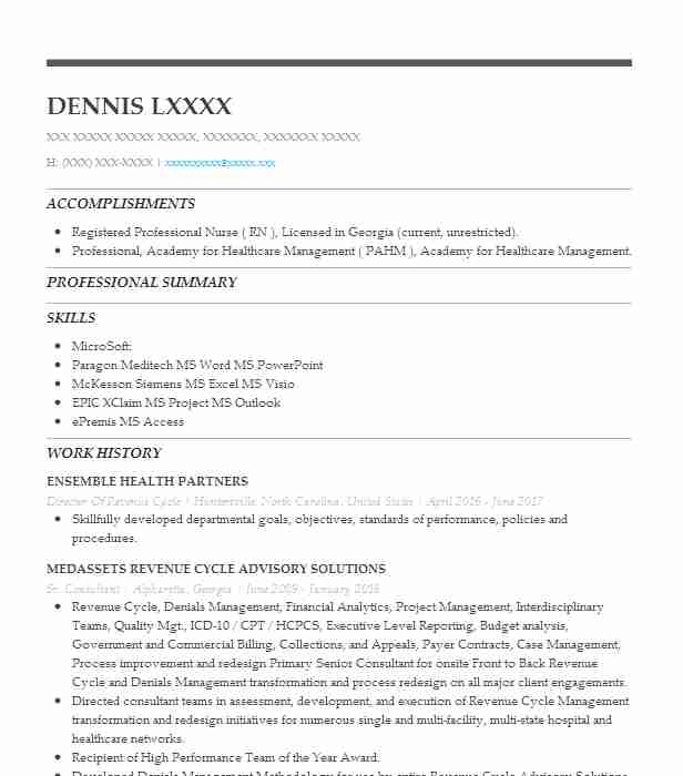 director of revenue cycle management resume example the meadows wickenburg scottsdale Resume Revenue Cycle Manager Resume