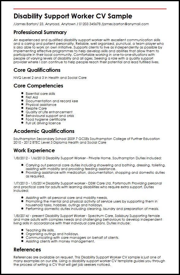 disability support worker cv example myperfectcv community service resume sample react Resume Community Service Worker Resume Example