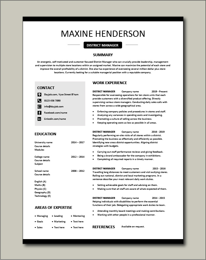 district manager resume cv examples sample template local national job description free Resume District Manager Resume
