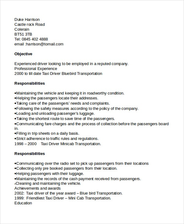 driver resume template free word pdf document downloads premium templates forklift taxi Resume Forklift Driver Resume Template