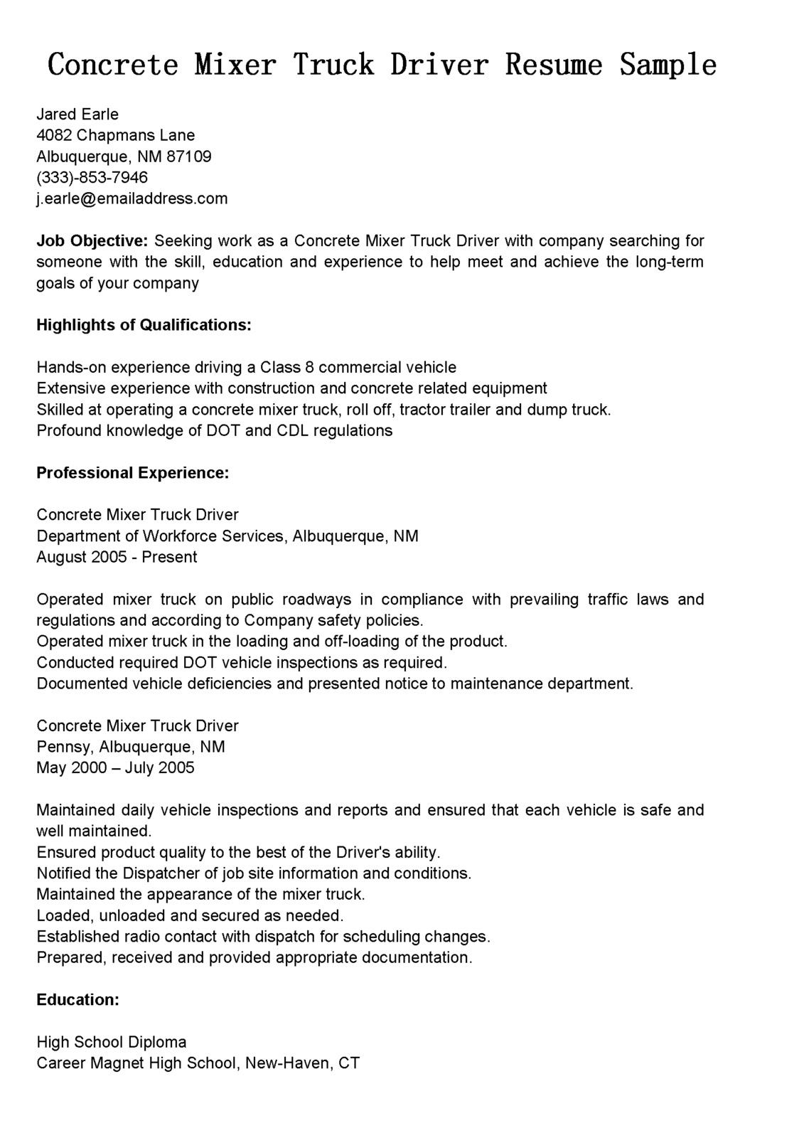 driver resumes concrete mixer truck resume sample driving objective examples internet Resume Truck Driving Resume Objective Examples
