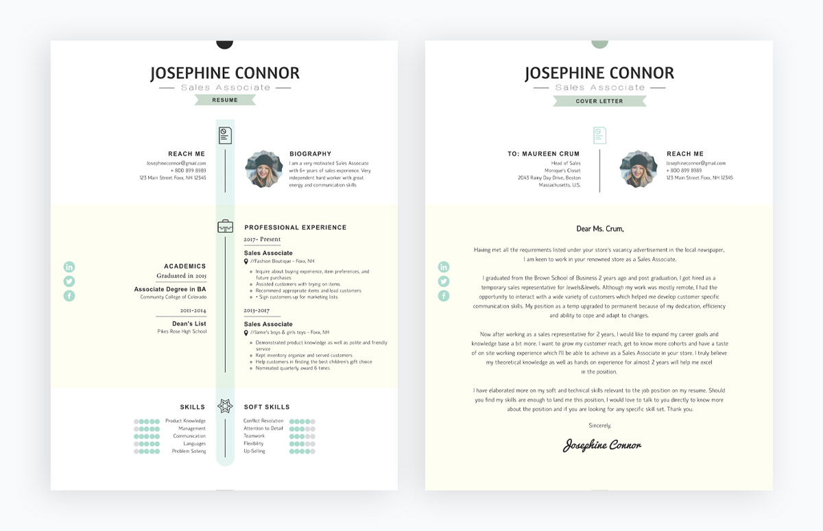 effective cover letter templates you can customize and free matching resume Resume Free Matching Cover Letter And Resume Templates