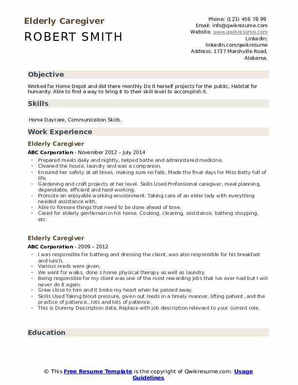 elderly caregiver resume samples qwikresume objectives templates examples pdf free sample Resume Caregiver Objectives Resume Templates Examples