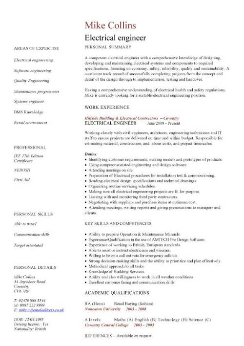 electrical engineer cv sample circuit boards processors chips electronic equipment Resume Sample Resume For Experienced Electronics Engineer