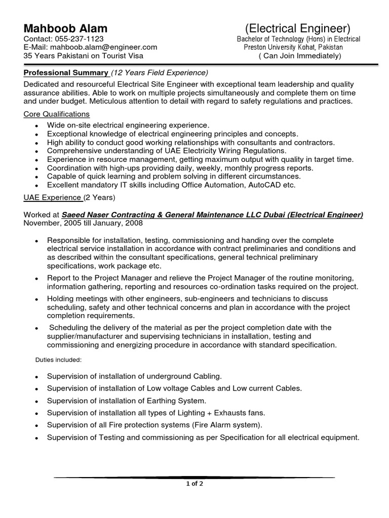 electrical engineer cv sample electric distribution cable fire protection resume cover Resume Fire Protection Engineer Resume