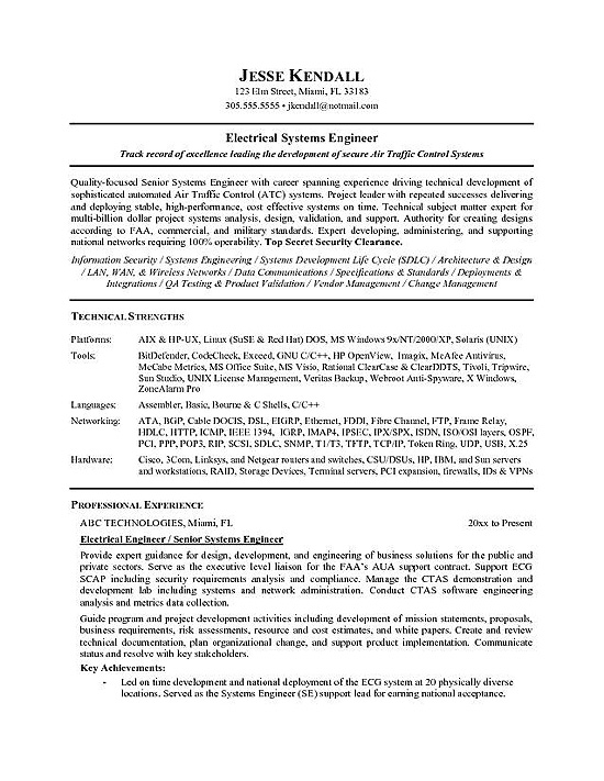 electrical engineer resume example control systems sample for summer internship program Resume Control Systems Engineer Resume Sample
