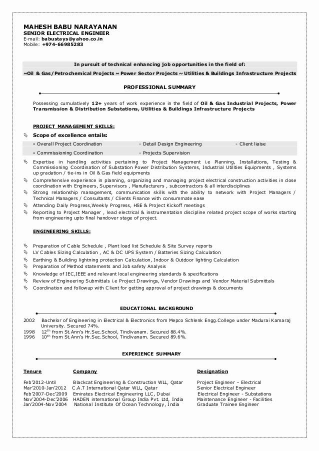 electrical engineer resume sample awesome mbn cv senior in engineering job samples Resume Sample Resume For Experienced Electronics Engineer