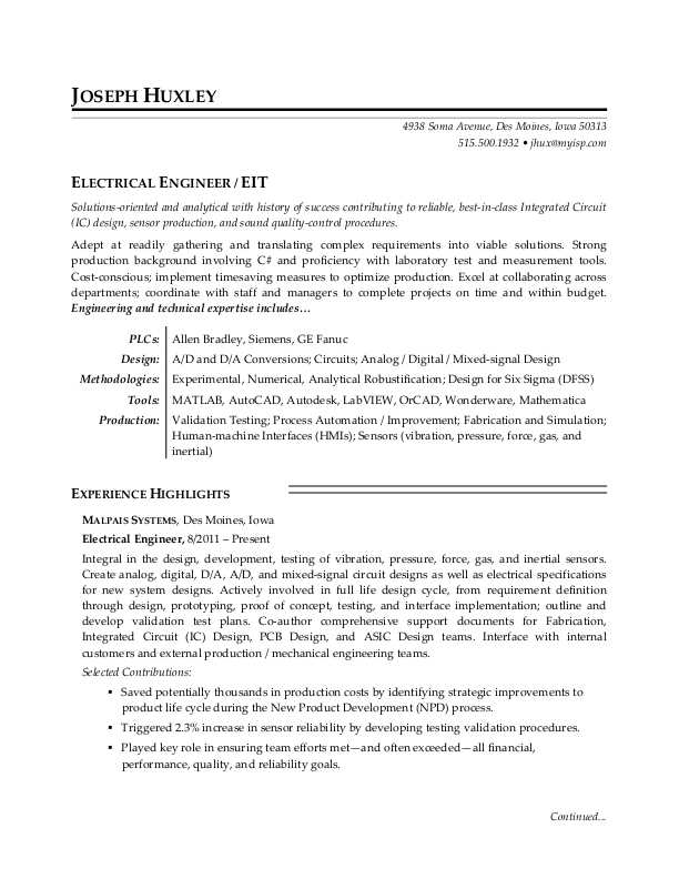 electrical engineer resume sample monster for experienced electronics mike rowe subway Resume Sample Resume For Experienced Electronics Engineer