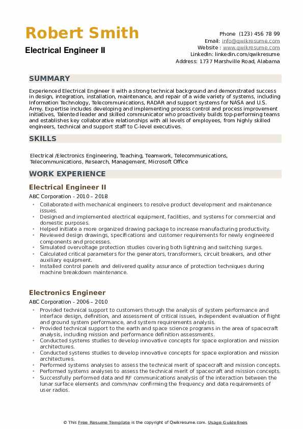 electrical engineer resume samples qwikresume sample for experienced electronics pdf Resume Sample Resume For Experienced Electronics Engineer