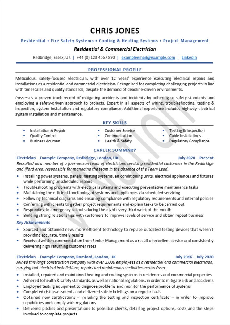 electrician cv examples and writing guide nation auto resume sample adaptive skills Resume Auto Electrician Resume Sample