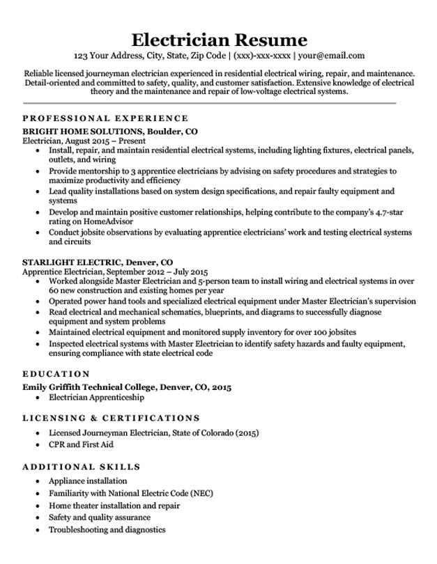 electrician resume sample mt home arts low voltage technician popular objective for Resume Low Voltage Technician Resume Sample