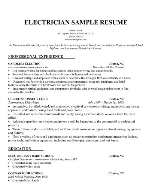 electrician resume samples sample resumes cover letter examples for template microsoft Resume Electrician Resume Template Microsoft Word