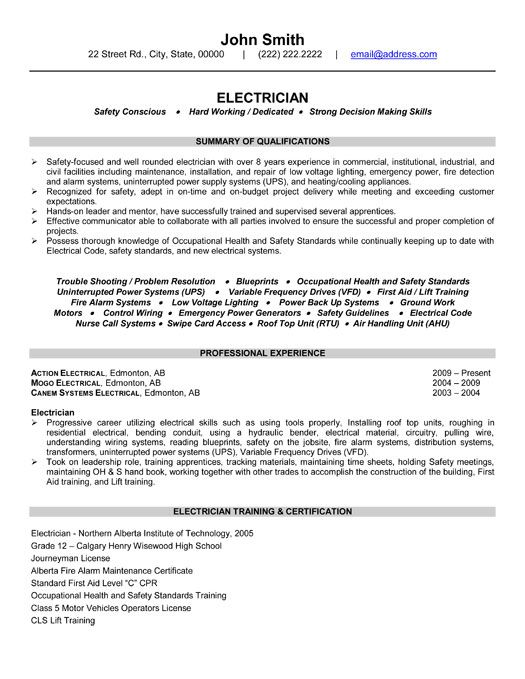 electrician resume template premium samples example examples sample format job low Resume Low Voltage Technician Resume Sample