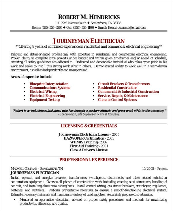 electrician resume templates pdf free premium template microsoft word professional Resume Electrician Resume Template Microsoft Word