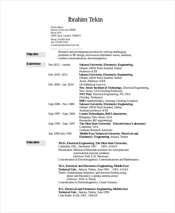 electronics resume template free word pdf document downloads premium templates sample for Resume Sample Resume For Experienced Electronics Engineer