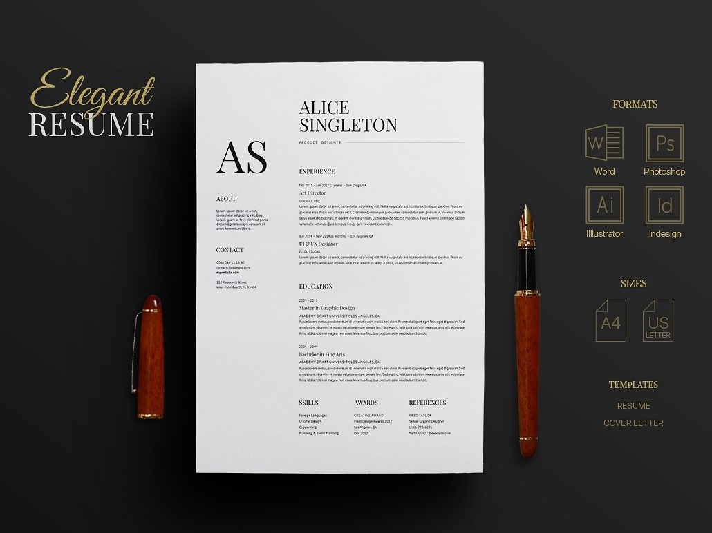 elegant resume by templates on dribbble template free software for windows xp forensic Resume Elegant Resume Template