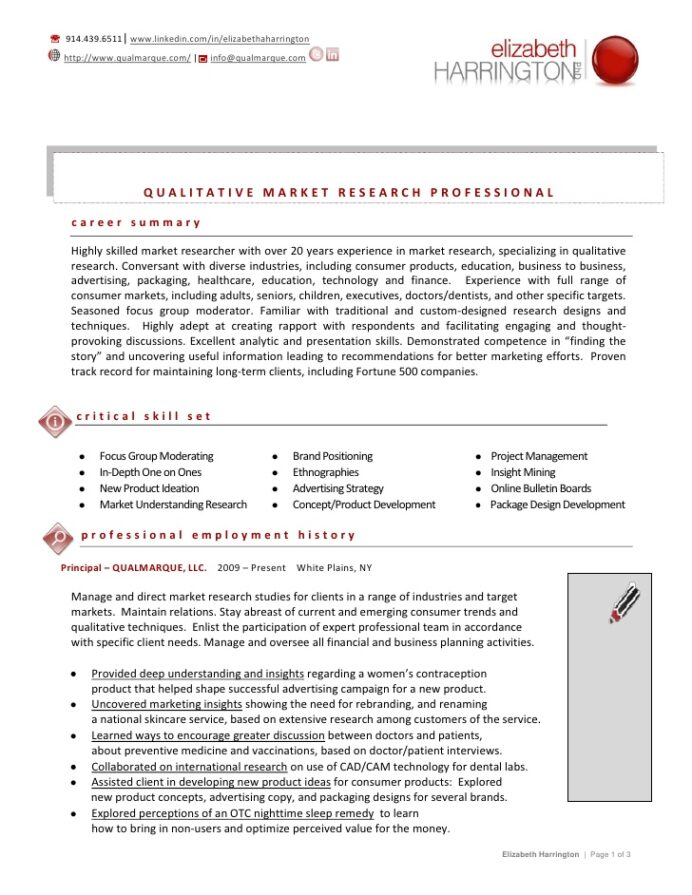 elizabeth harrington resume june quantitative research summary examples entry level Resume Quantitative Research Resume