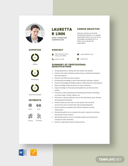 email marketing coordinator resume template word apple mac net objective for experienced Resume Email Marketing Coordinator Resume