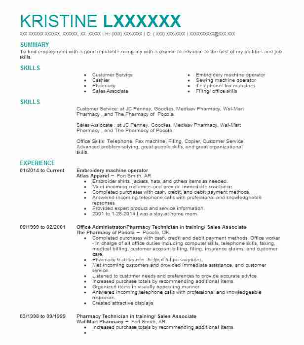 embroidery machine operator resume example livecareer for sewing business owner samples Resume Resume For Sewing Machine Operator