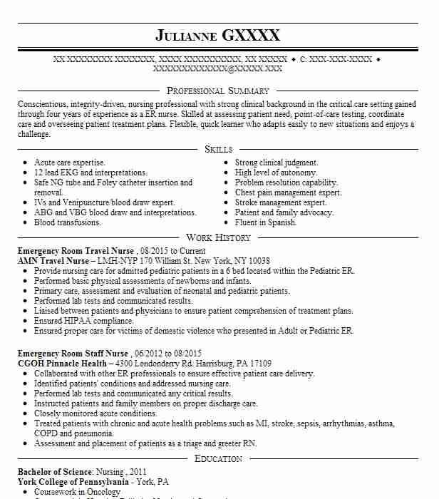 emergency room staff resume example kaiser permanente beach nurse child care objective Resume Emergency Room Nurse Resume