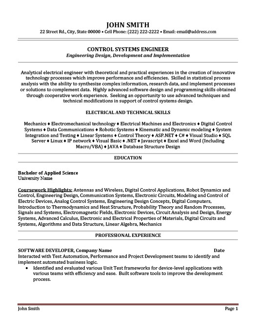 engineer resume template premium samples example control systems sample first job ios Resume Control Systems Engineer Resume Sample