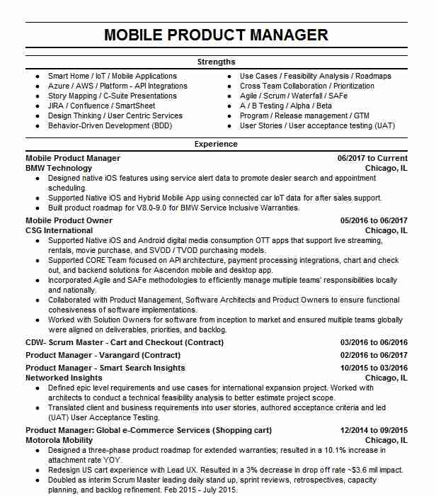 engineering manager resume example workday inc product sharepoint administrator entry Resume Mobile Product Manager Resume