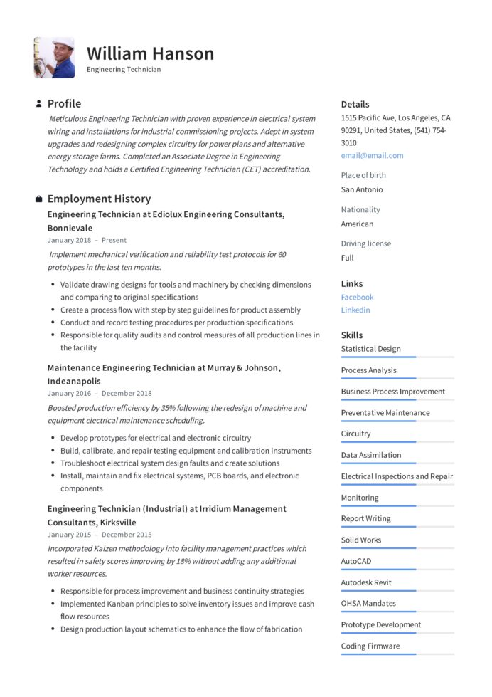 engineering technician resume writing guide templates low voltage sample professional Resume Low Voltage Technician Resume Sample