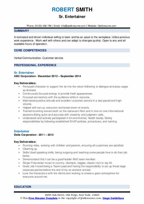 entertainer resume samples qwikresume comedian example pdf best word font for talend Resume Comedian Resume Example