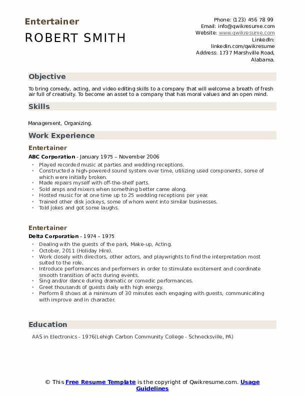 entertainer resume samples qwikresume comedian example pdf healthcare operations college Resume Comedian Resume Example