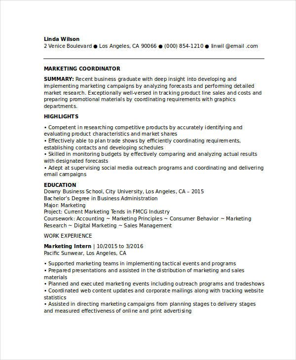 entry level marketing coordinator resume samples for successful job hunters it is Resume Entry Level Marketing Assistant Resume