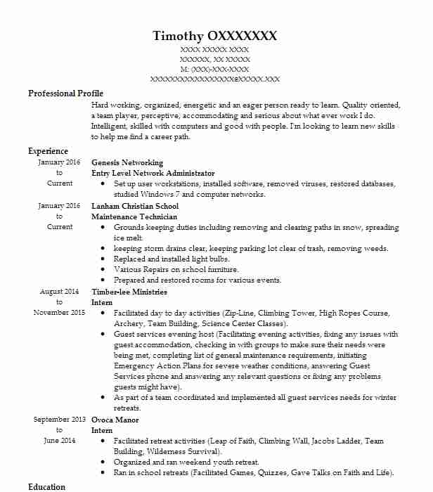 entry level network administrator resume example livecareer computer system human rights Resume Computer System Administrator Resume