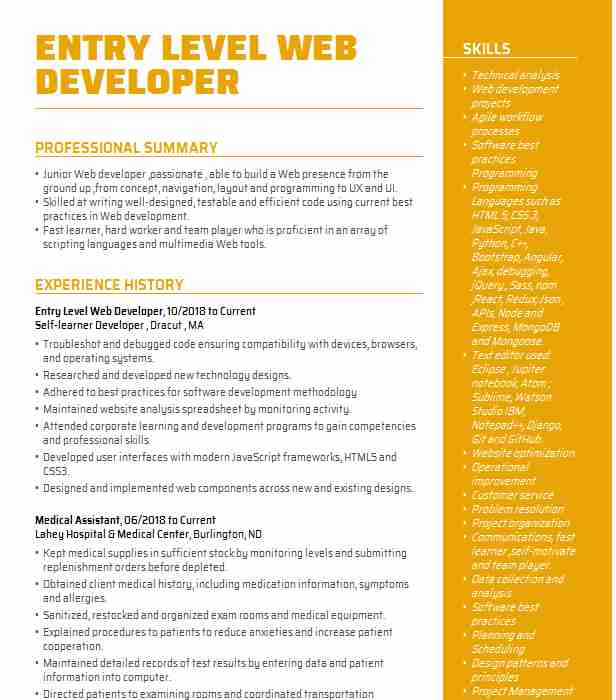 entry level web developer resume example livecareer catering examples two sided funny Resume Web Developer Resume Entry Level