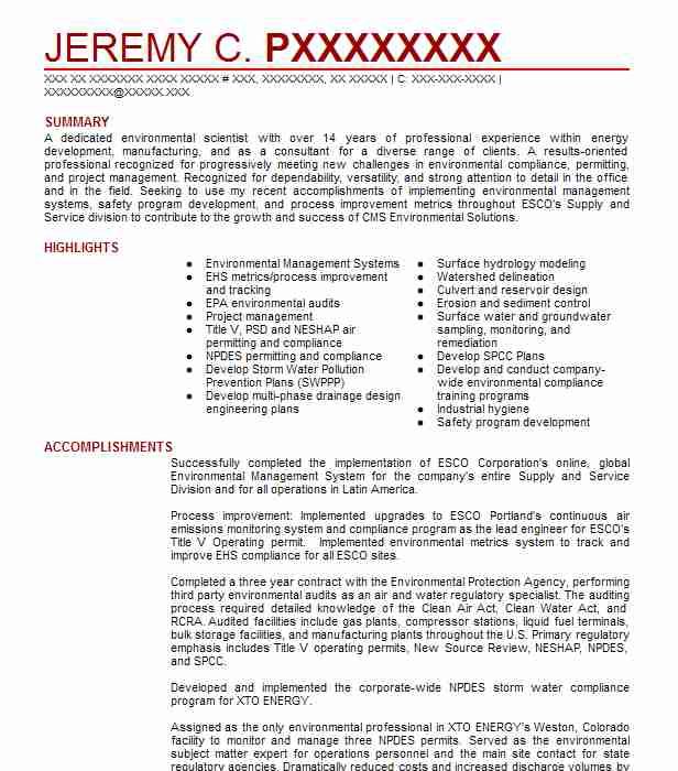 environmental engineer resume example livecareer for fresher consultant toronto format Resume Resume For Fresher Environmental Engineer