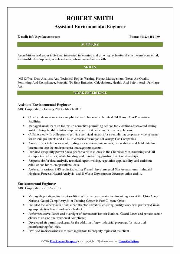 environmental engineer resume samples qwikresume for fresher pdf college student examples Resume Resume For Fresher Environmental Engineer