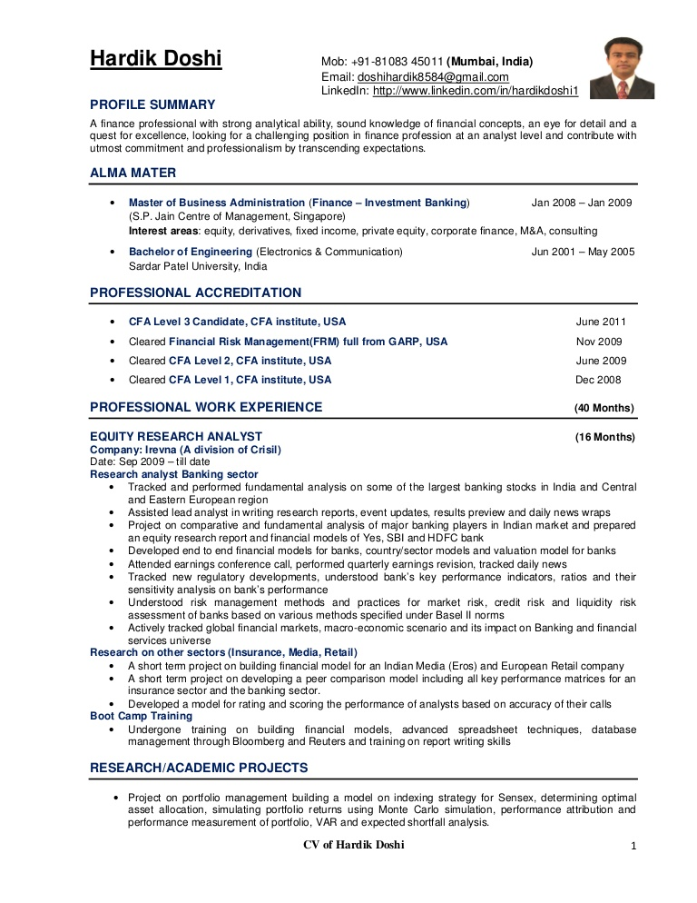 equity analyst resume research cv example investment hardikdoshicv phpapp01 thumbnail Resume Investment Analyst Resume