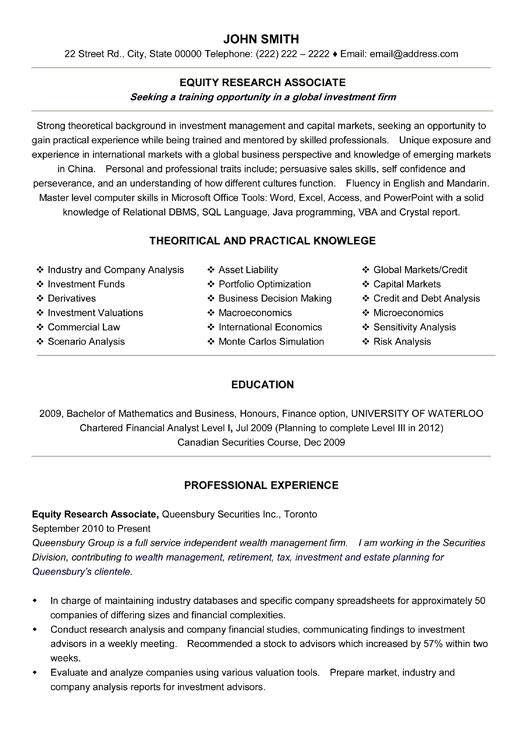 equity research associate resume sample template analyst example student free job Resume Equity Research Analyst Resume Example