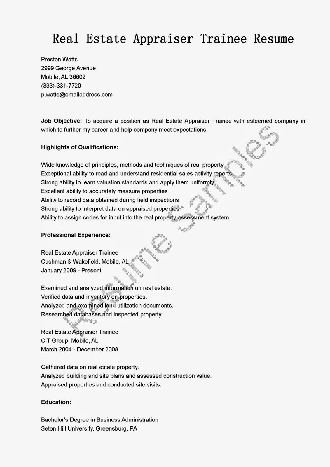 estate appraiser trainee resume sample free samples objective opening line for two column Resume Real Estate Appraiser Resume Objective