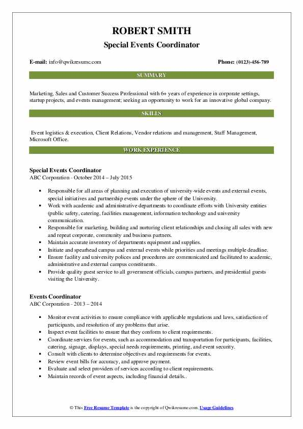 events coordinator resume samples qwikresume special pdf claims auditor vice president Resume Special Events Coordinator Resume