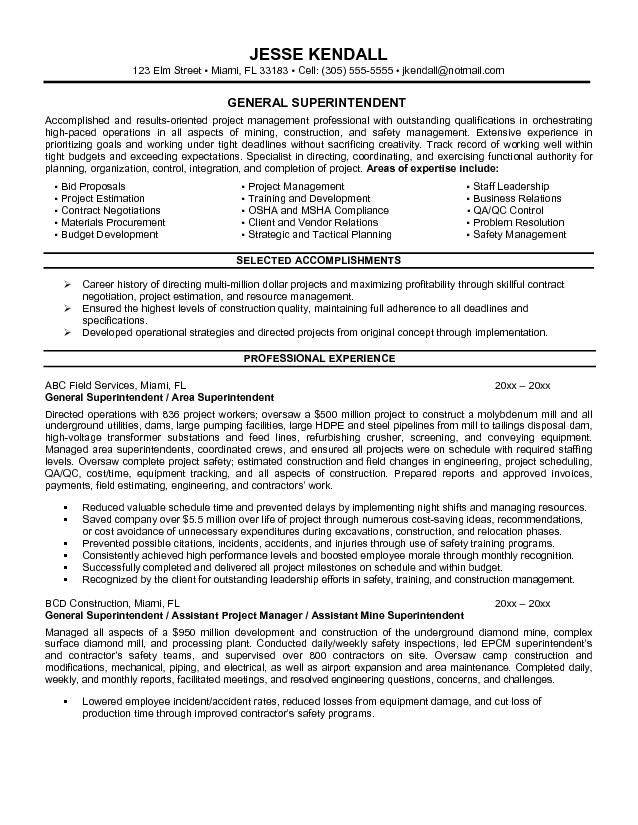 example general superintendent resume free sample objective examples good for personal Resume Good General Resume Objective Examples