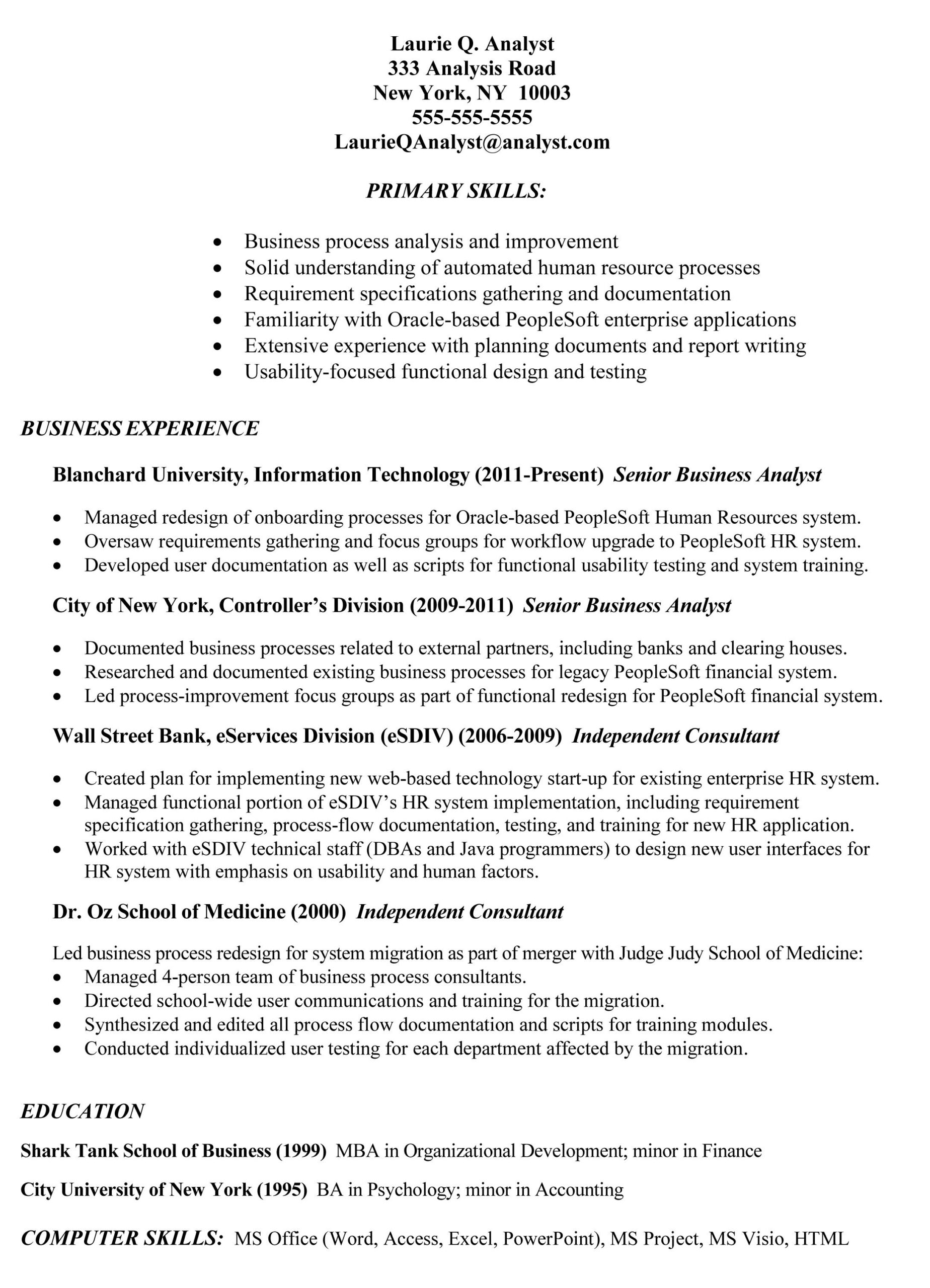 example of business analyst resumes latest resume format analysis information technology Resume Information Technology Business Analyst Resume Sample