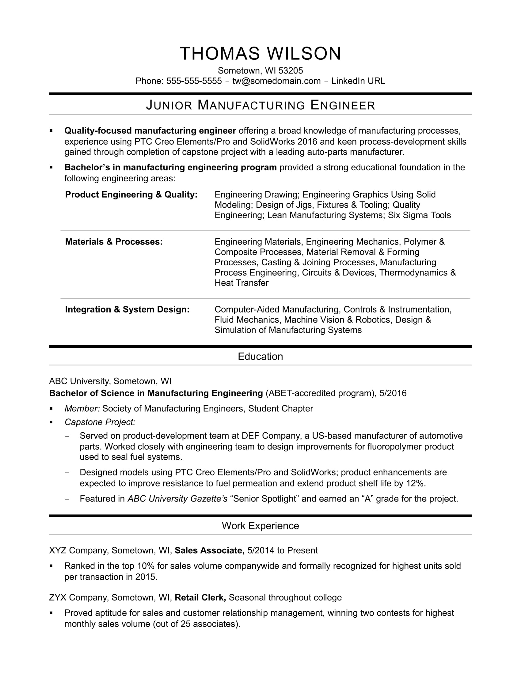 example of quality engineer resume materials sample for an entry level manufacturing Resume Materials Engineer Resume