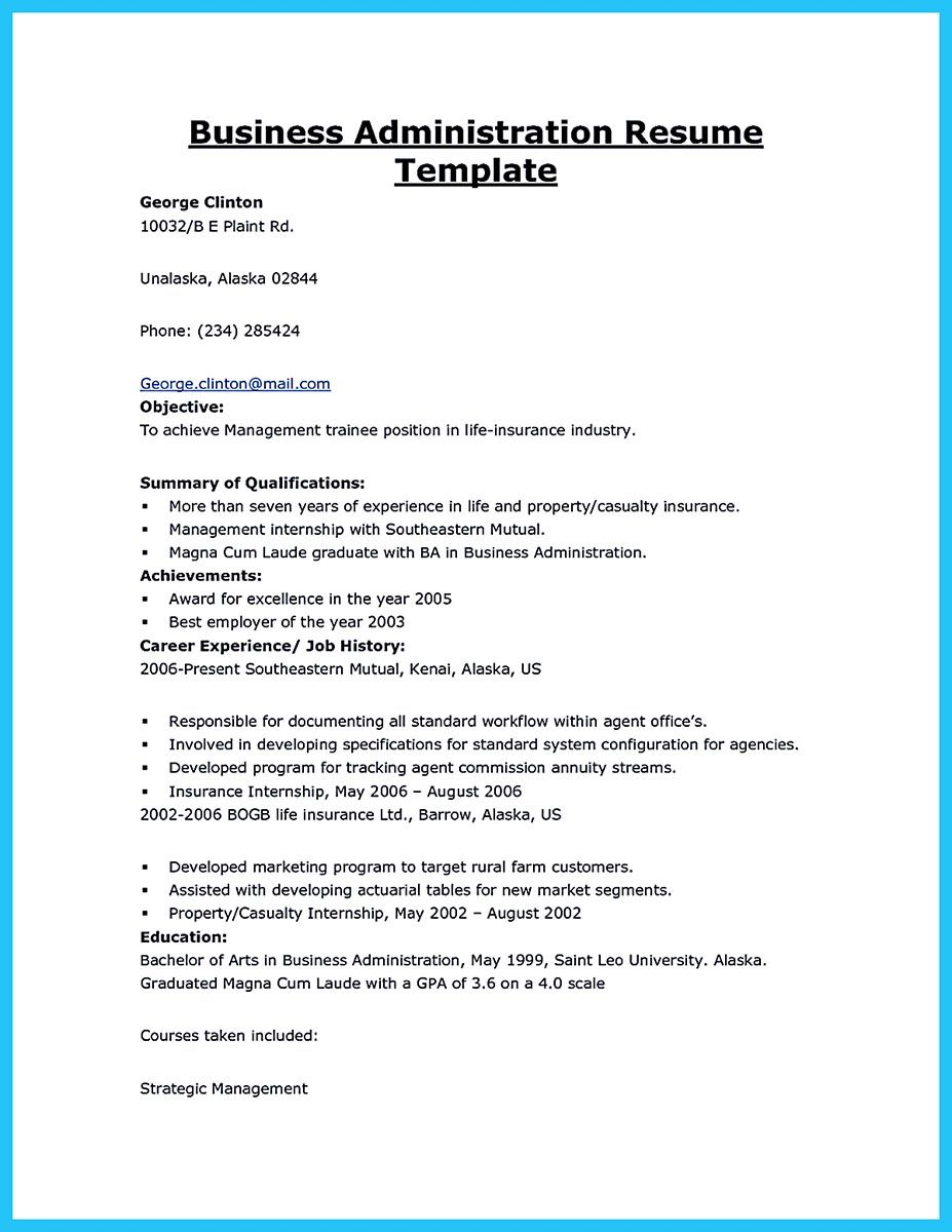 example of resume for fresh graduate business administration best examples objective Resume Business Administration Objective Resume