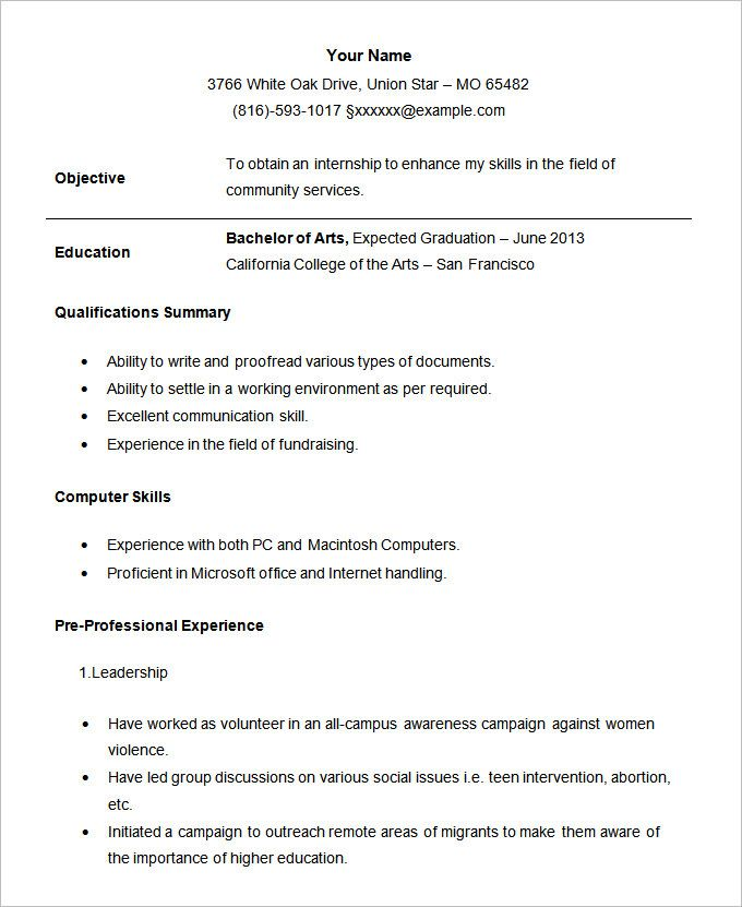 example of resume format for student template job examples best templates students youth Resume Best Resume Templates For Students