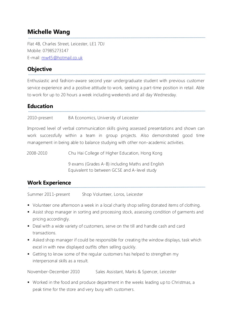example part time cv first student resume exampleparttimecv phpapp01 thumbnail google Resume First Time Student Resume