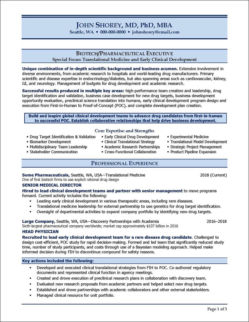 example resume for biotechnology pharmaceutical industry executive examples professional Resume Biotechnology Skills For Resume