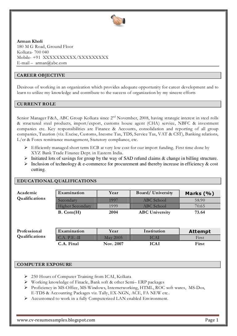excellent work experience professional chartered accountant resume sa format Resume Chartered Accountant Resume Format Download