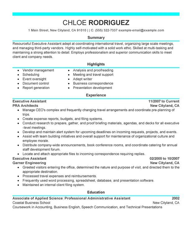 executive assistant resume sample my perfect administrative examples objective admin Resume Executive Admin Resume Examples