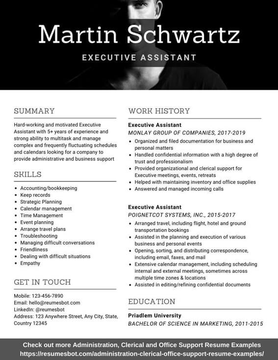 executive assistant resume samples and tips pdf resumes bot admin examples example Resume Executive Admin Resume Examples