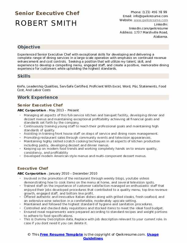 executive chef resume samples qwikresume experienced pdf front desk healthcare project Resume Experienced Chef Resume