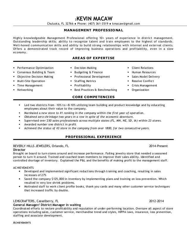 experienced multi unit district manager resume retail objective statement catering staff Resume District Manager Resume